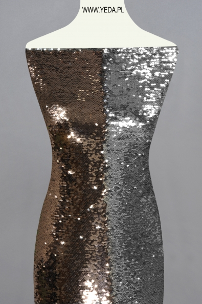 CHAMPAGNE/SILVER SEQUINS MESH FABRIC