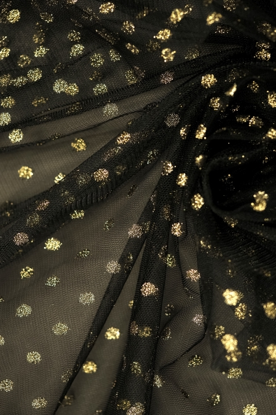 SOFT TULLE WITH DOTS ML 414 BLACK