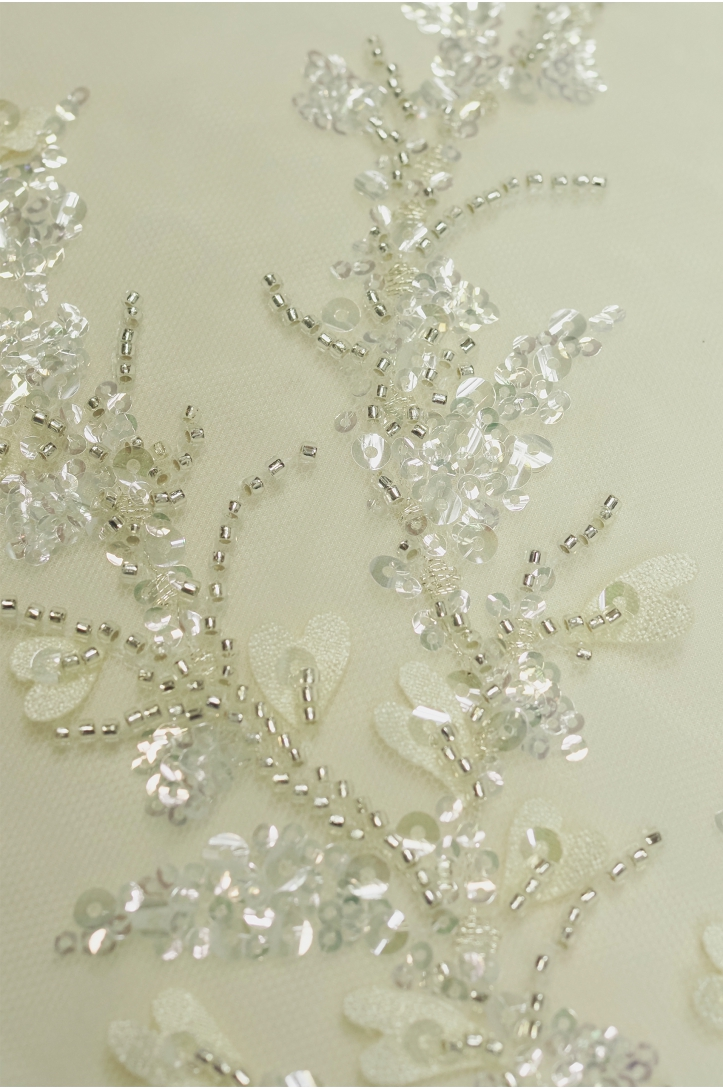 WEDDING LACE 12375 IVORY+ SILVER
